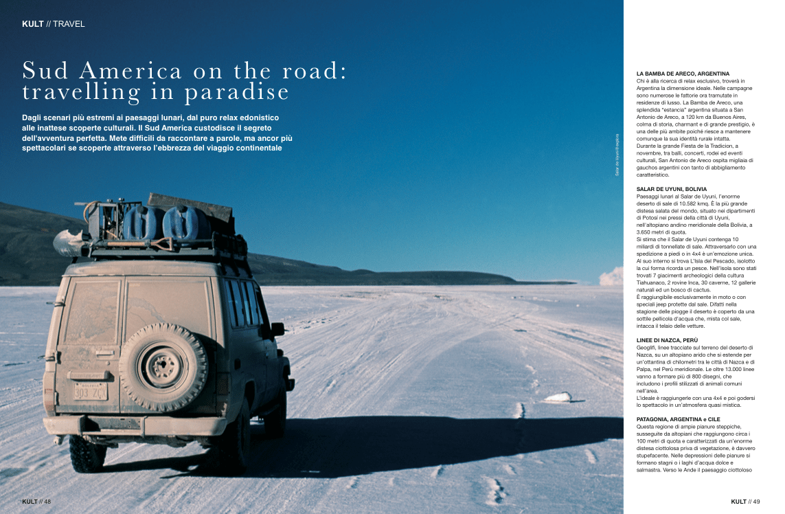 Sud America on the road: travelling in paradise - Articolo su Kult Magazine - Agosto 2015